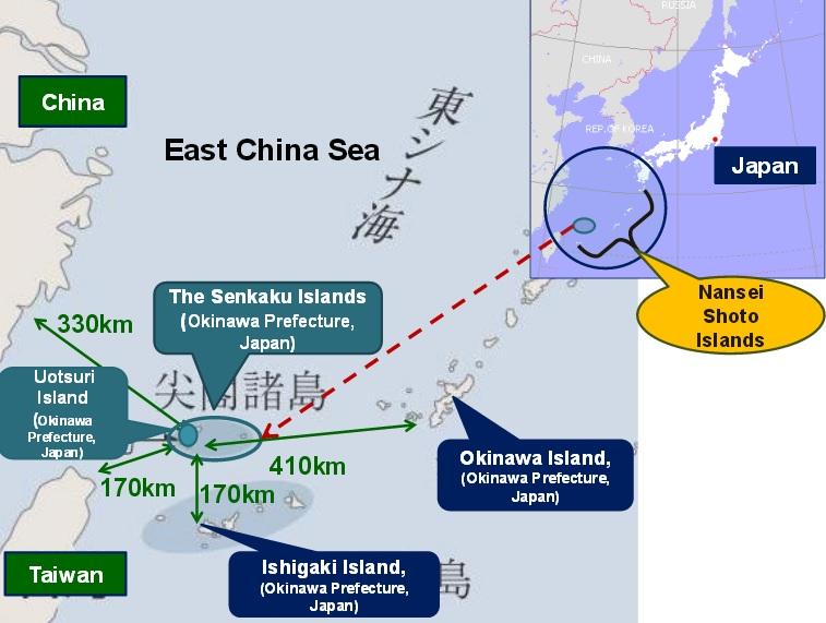 Localizarea insulelor Senkaku/Diaoyu în Marea Chinei de Est