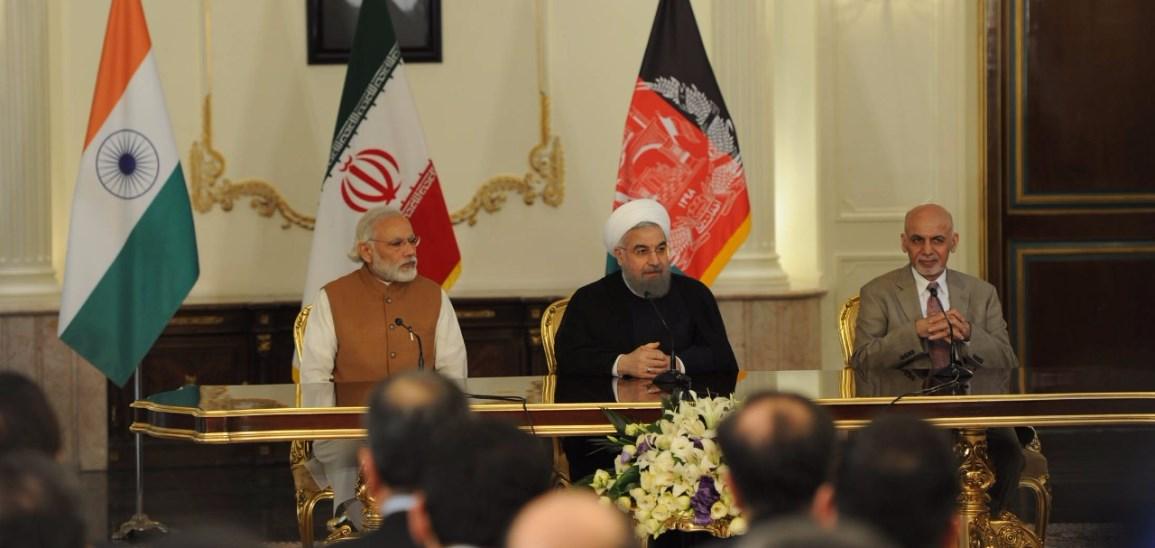 Narendra Modi, Hassan Rouhani și Ashraf Ghani, Iran, 2016