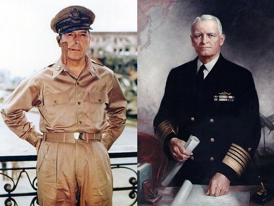 Generalul Douglas MacArthur și amiralul Chester Nimitz