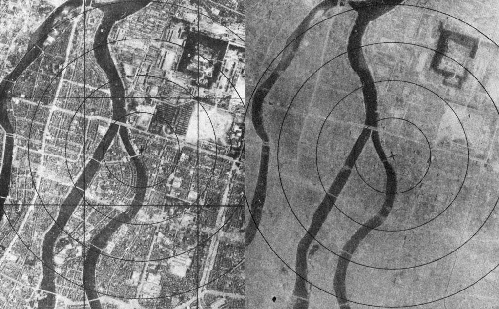 Hiroshima înainte și după explozia nucleară de pe 6 august 1945