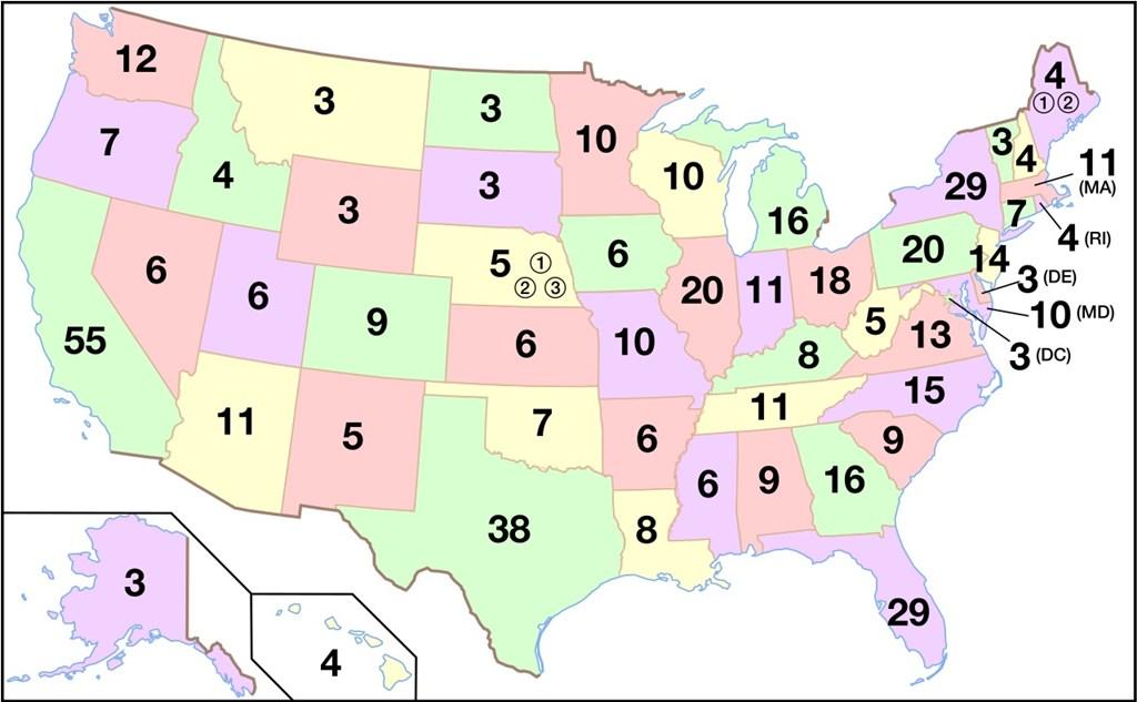 Harta Colegiului Electoral din SUA