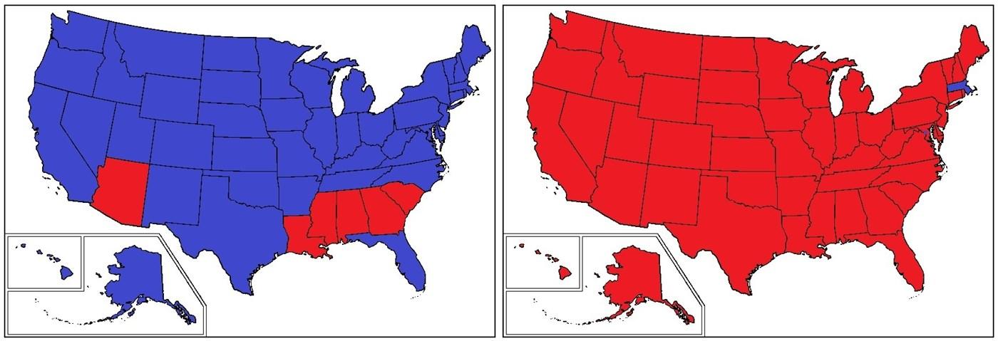 Harta electorală a alegerilor prezidențiale din SUA, din 1964 și 1972