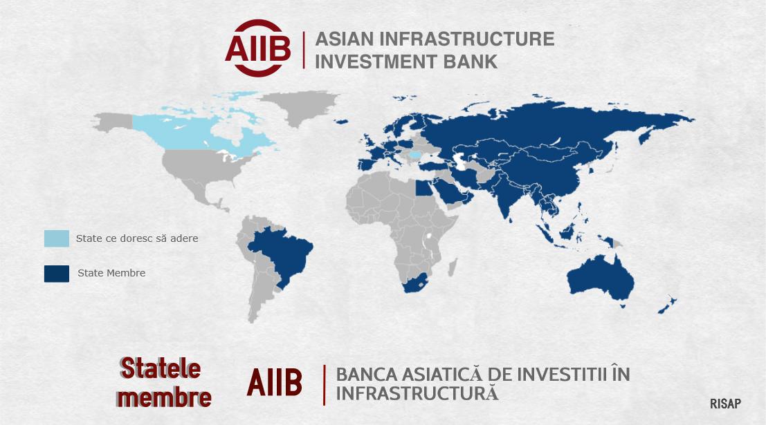 Harta țărilor fondatoare AIIB