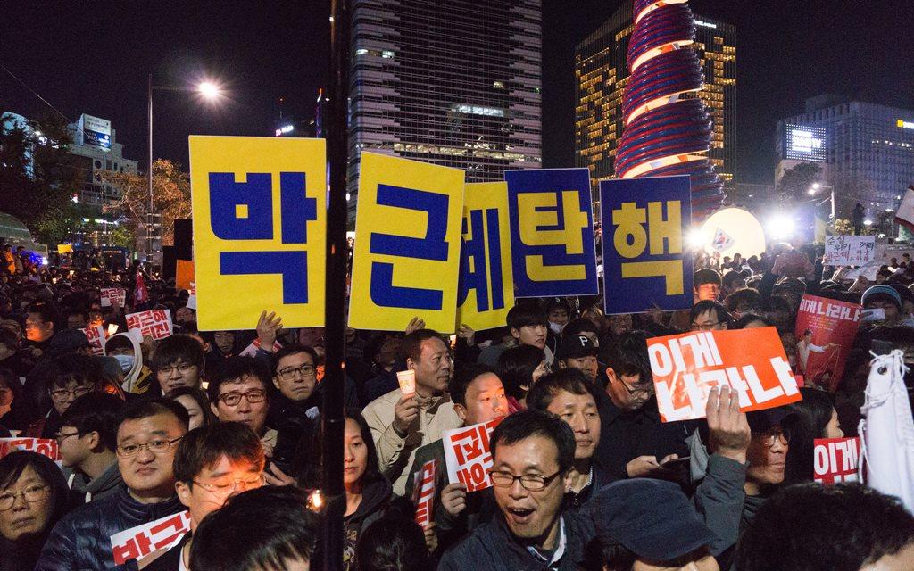 Proteste în Seul, împotriva preşedintei Park Geun-hye, în octombrie 2016