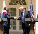 Donald Trump și Moon Jae-in după declarații de presă la Casa Albă