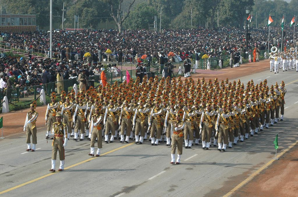 Contingent al poliției de frontieră Indo-Tibetane, mărșăluind în timpul paradei militare de Ziua Republicii a Indiei, în 2009