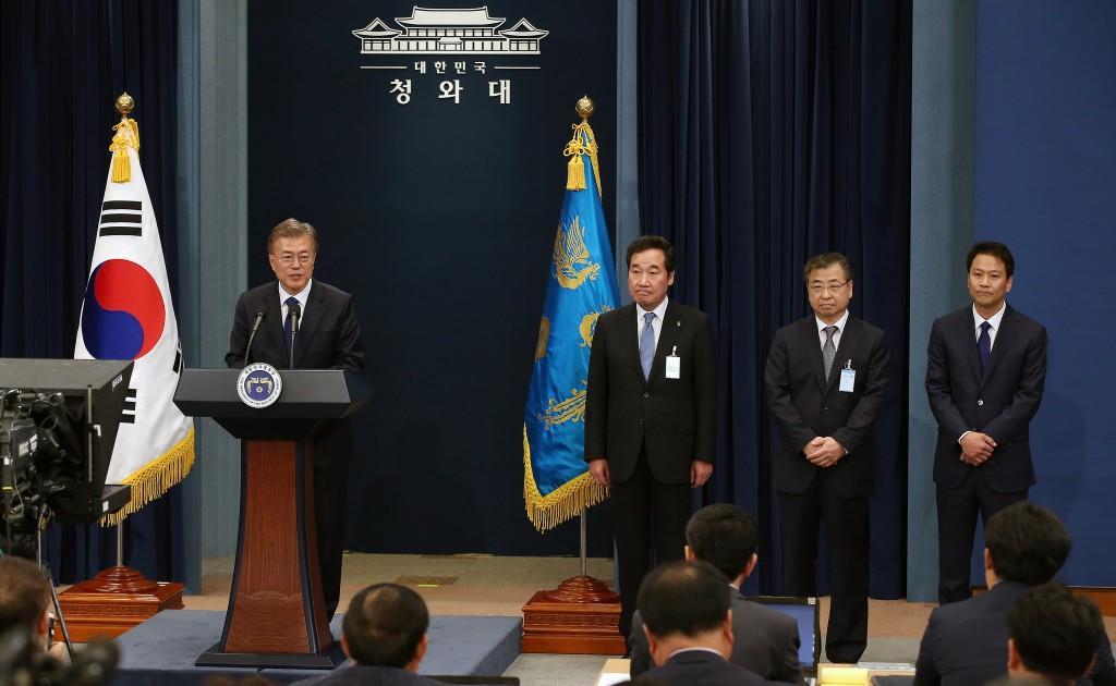 Conferinta presa Moon Jae-in in 2017