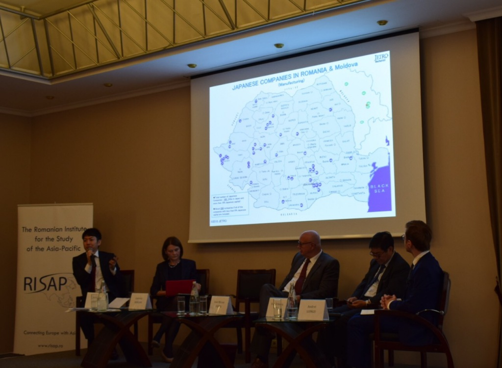 The presentation of Mr. Keisuke Mizuno, General Director of JETRO Bucharest,, highlighting the map of Japanese investments in Romania
